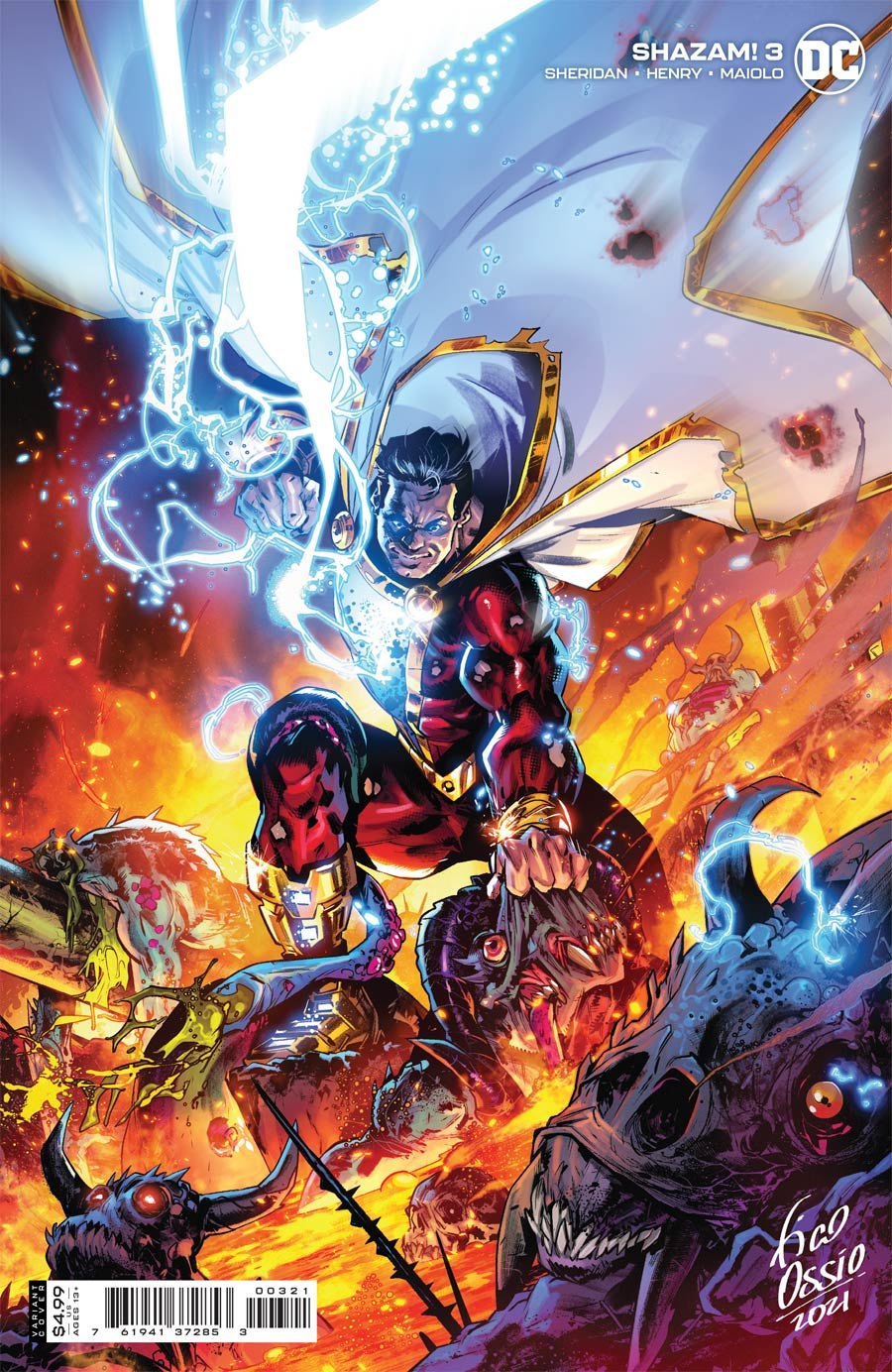 SHAZAM Vol 3 #3 Cover B Variant Fico Ossio Card Stock Cover