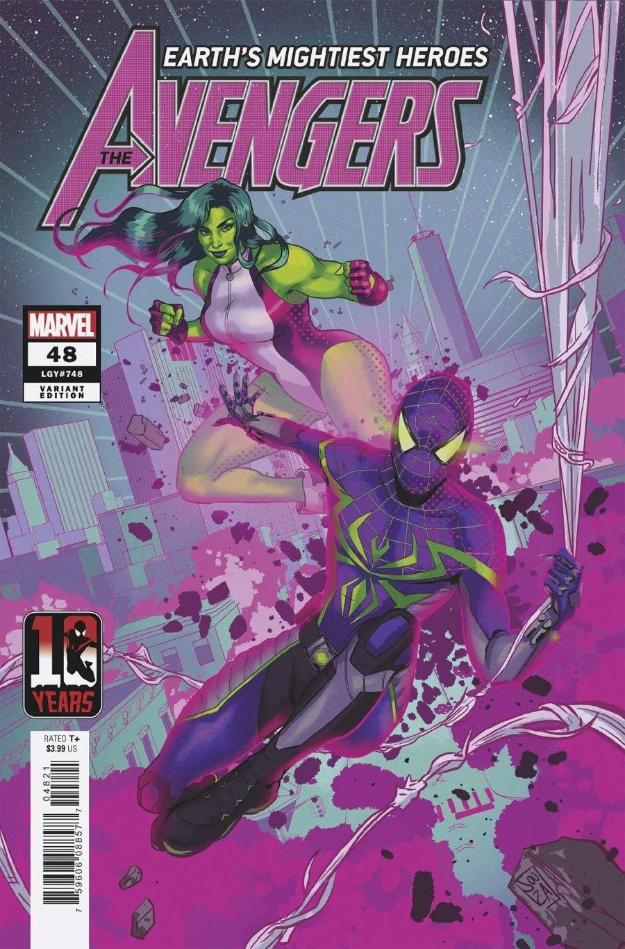 Avengers Vol 7 #48 Cover B Variant Ernanda Souza Miles Morales Spider-Man 10th Anniversary Cover