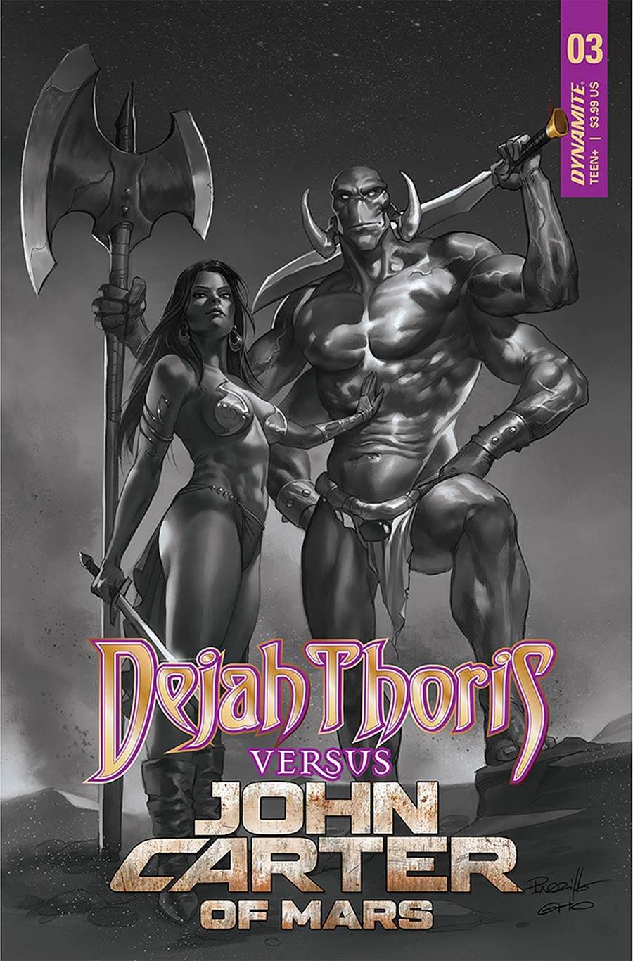 Dejah Thoris Versus John Carter Of Mars #3 Cover I Incentive Lucio Parrillo Black & White Cover