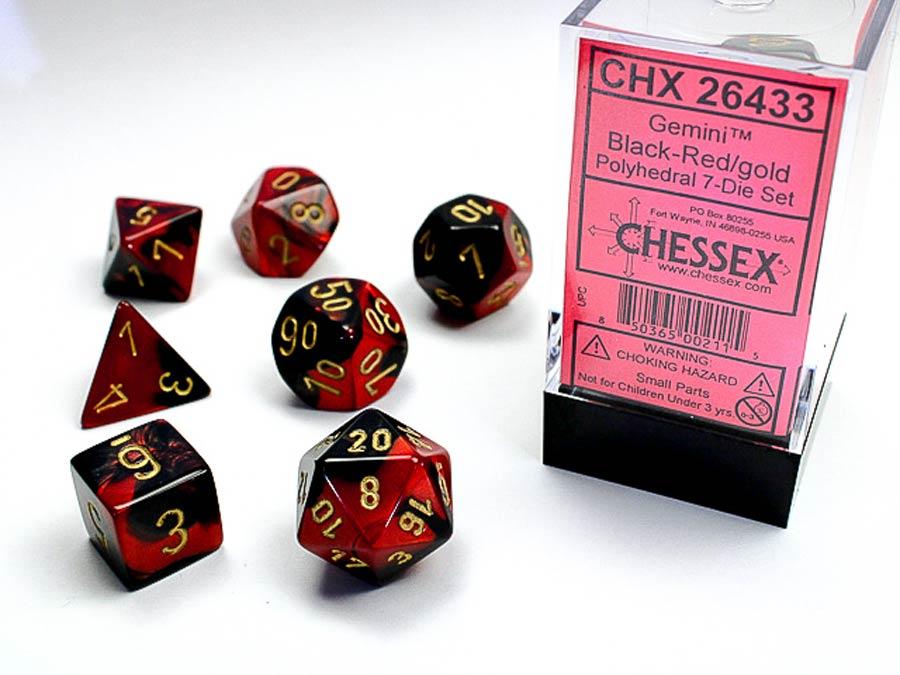 Gemini Polyhedral Black-Red/Gold 7-Die Set