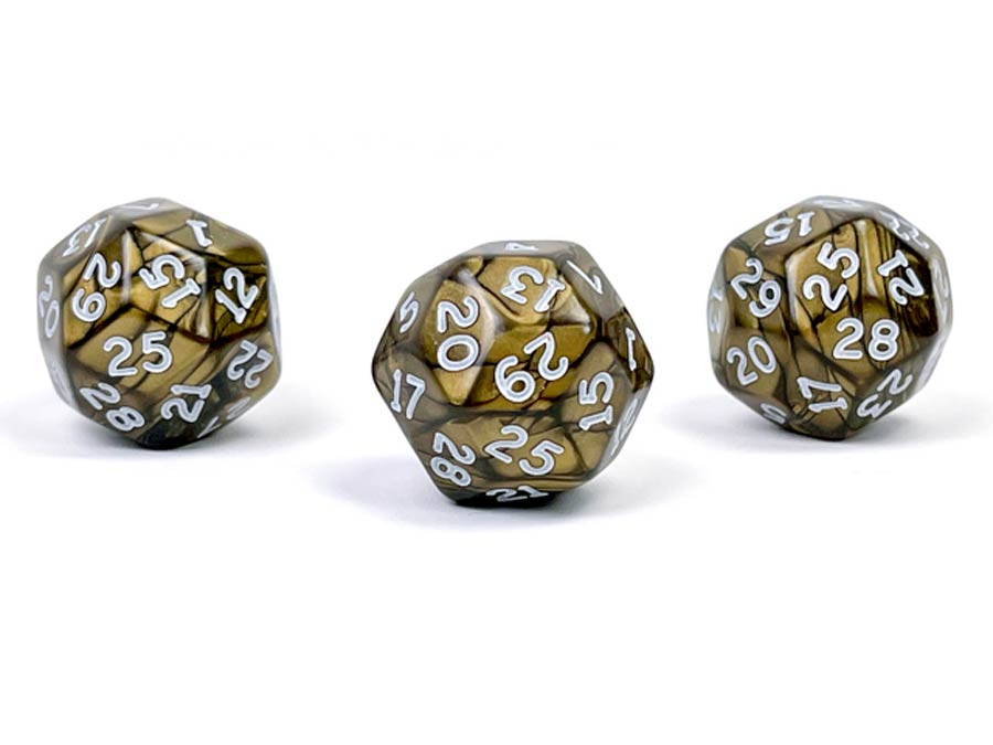 Pearlescent Polyhedral Antique Bronze/White d30