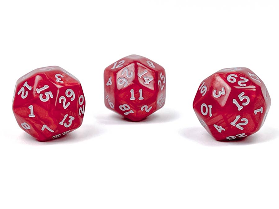 Pearlescent Polyhedral Red/White d30