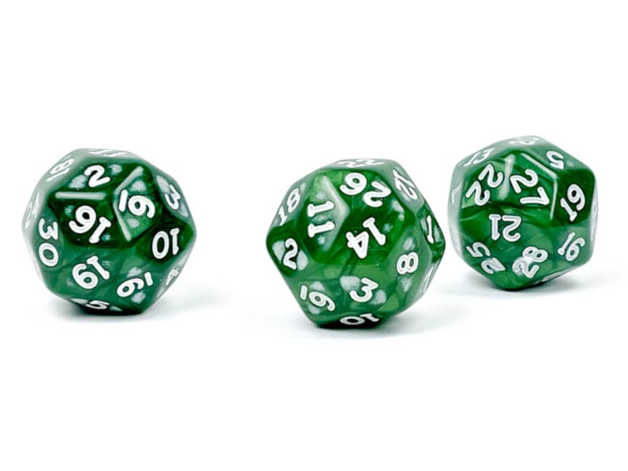 Pearlescent Polyhedral Green/White d30