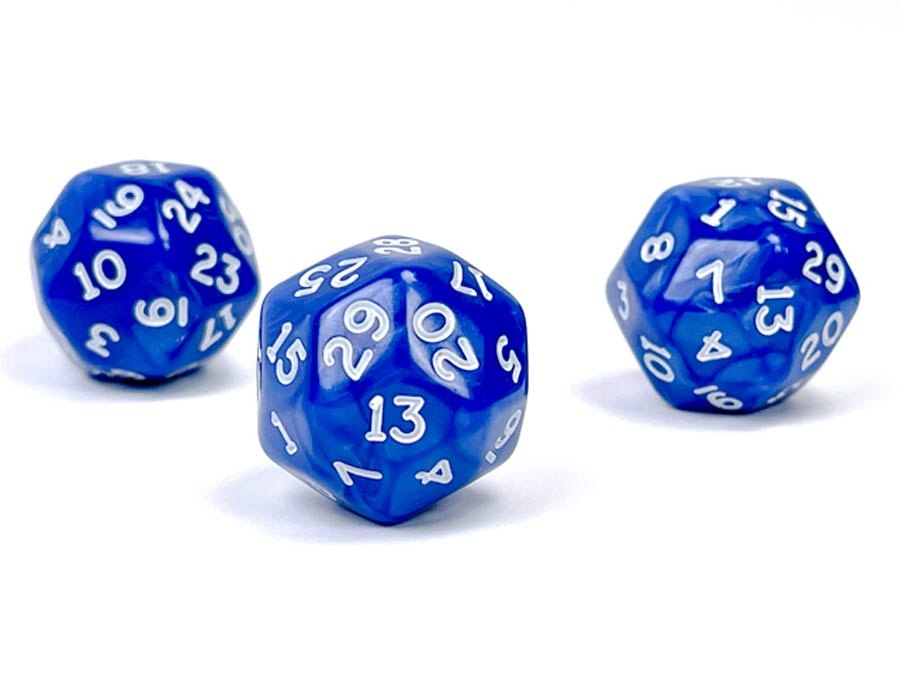 Pearlescent Polyhedral Blue/White d30