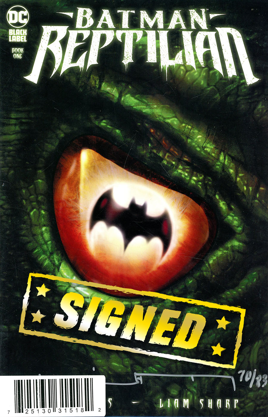 Batman Reptilian #1 Cover E DF Signed By Liam Sharp