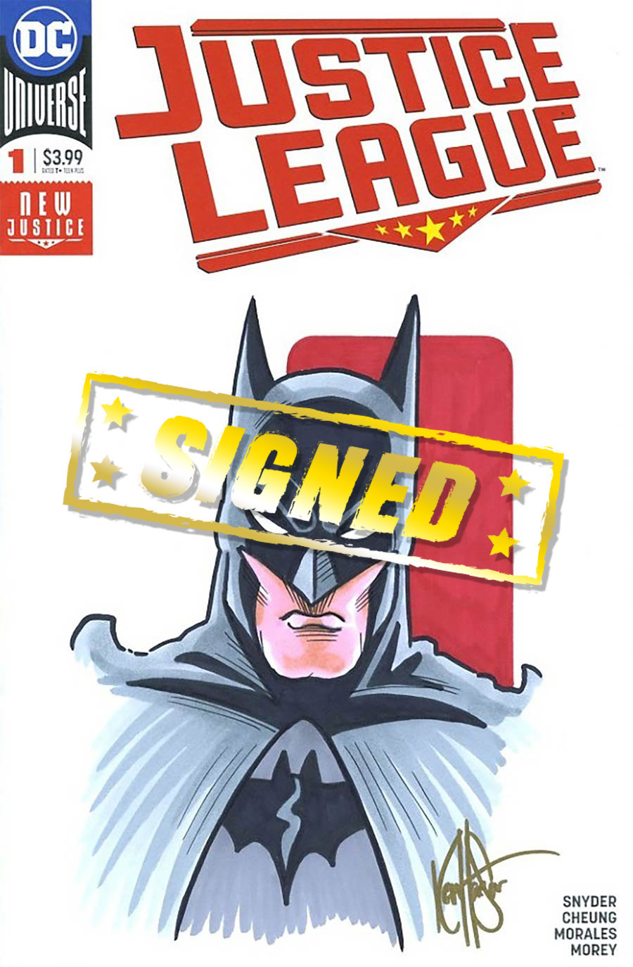 Justice League Vol 4 #1 Cover Z-B DF Signed & Remarked By Ken Haeser