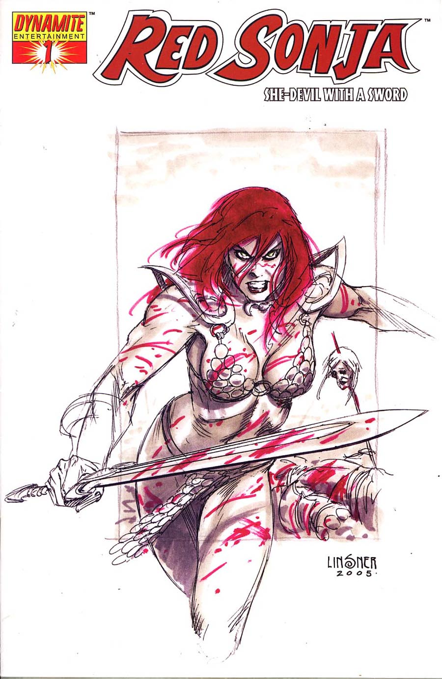 Red Sonja Vol 4 #1 Cover H Incentive Linsner Sketch Cvr