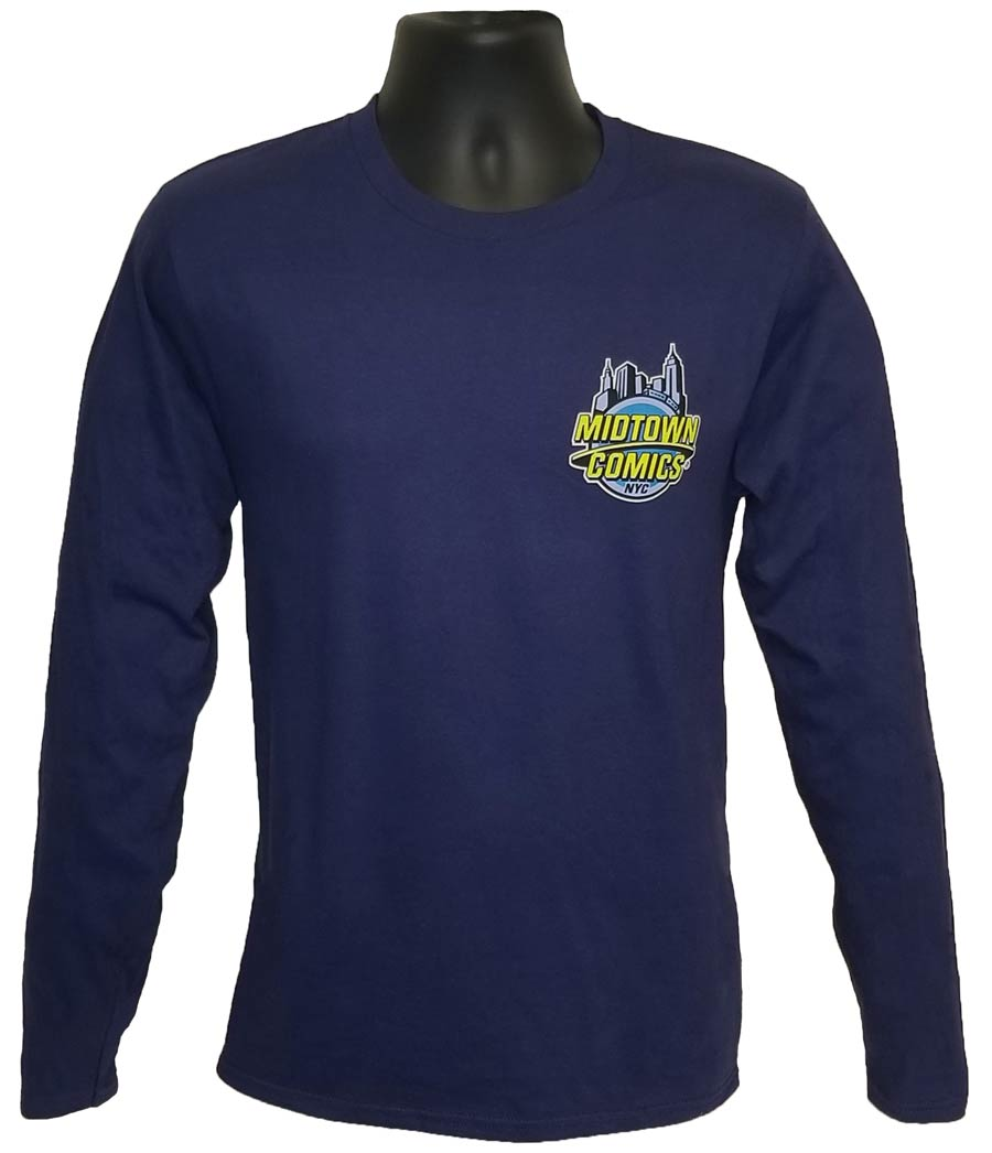 Midtown Comics Logo Navy Long Sleeve Shirt Large